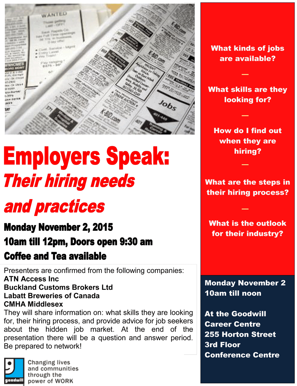 employers speak event on 2nd goodwill industries employers speak poster
