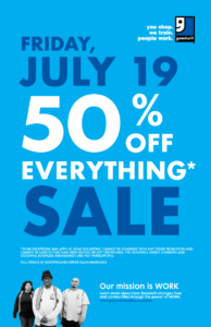 Goodwill July 2019 50% Off Everything Sale