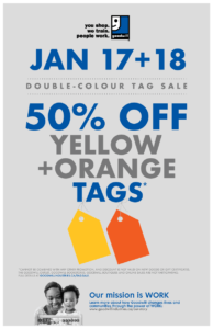 Yellow and orange tag sale on January  17th and 18th 2020