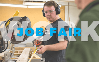 Manufacturing and labour job fair picture with man holding a measuring tape