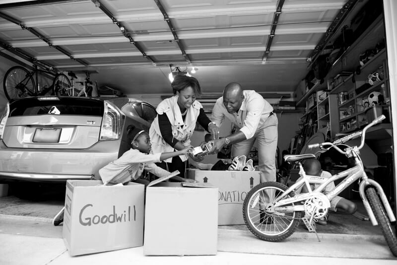 Family Gathering Donations in Garage for Goodwill