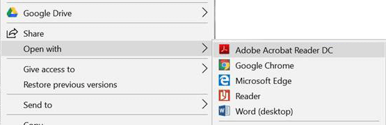 Image showing instructions how to open a PDF. Open with Adobe Acrobat Reader DC